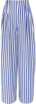 Evi Grintela - Cornella Striped Cotton-poplin Wide-leg Pants - Blue