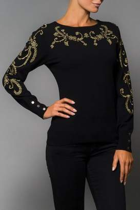 Elena Wang Black Embroidered Sweater