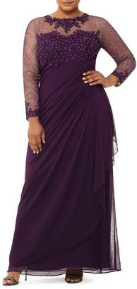 Xscape Evenings Embellished Illusion Long Sleeve Ruched Gown