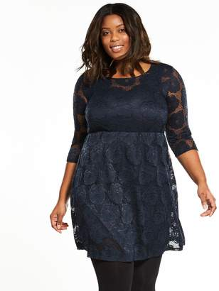 Junarose Curve Gin Lace Fit And Flare Dress - Navy
