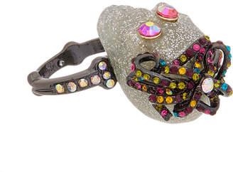 Betsey Johnson Halloween Cz Glitter & Multi-Stone Skull Ring