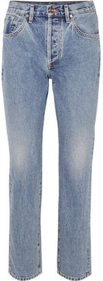 Gold Sign Benefit High-rise Straight-leg Jeans - Mid denim