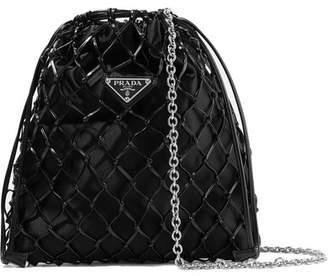 Prada Macramé Leather And Satin Bucket Bag - Black