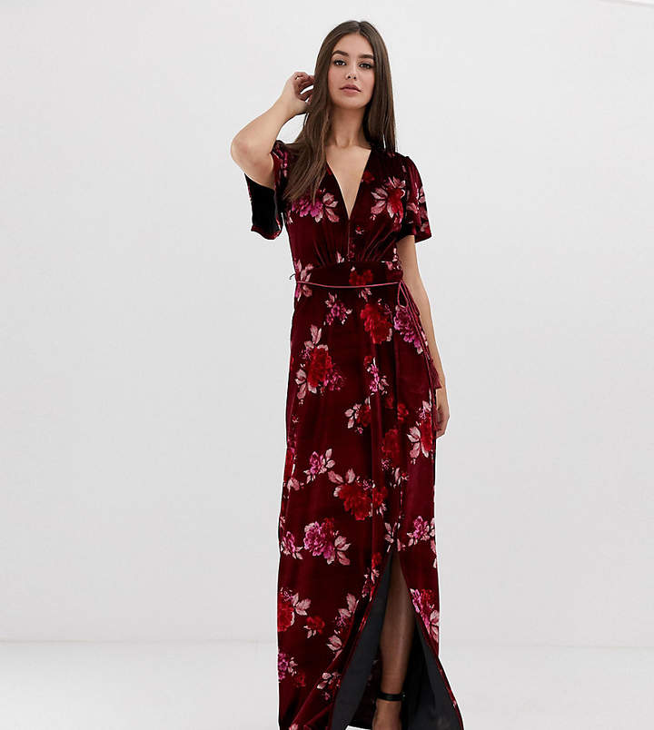 Asos Tall ASOS DESIGN Tall velvet floral maxi dress with tassel belt