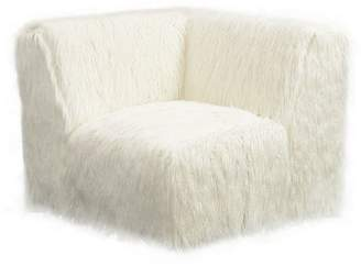 Pottery Barn Teen Riley Lounge Corner Chair, Ivory Furlicious Faux-Fur, IDS