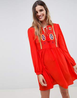 Glamorous Smock Dress With Tassle Ties And Embroidery