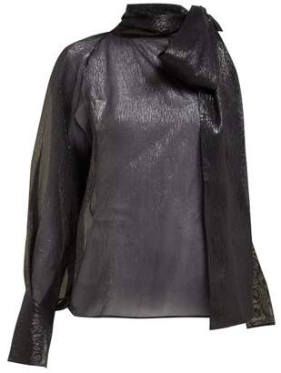 46b43953e6d188 Petar Petrov Bray One Shoulder Silk Blend Lame Blouse - Womens - Black