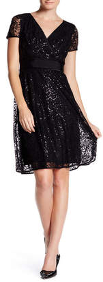 NUE by Shani Surplice V-Neck Embellished Sequin Lace Dress