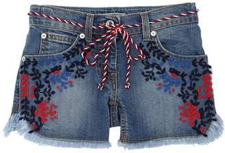 Ermanno Scervino Embroidered Stretch Cotton Denim Shorts