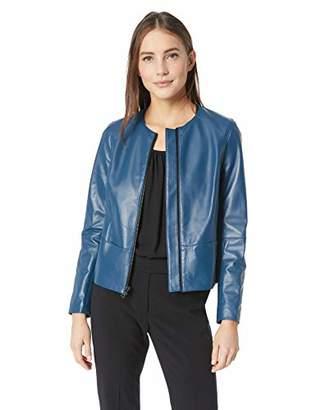 Anne Klein Women's Leather Zip Front Jacket