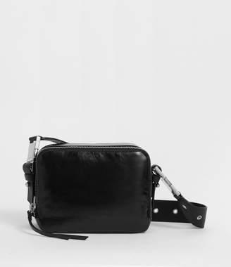AllSaints Clip Shiny Leather Fanny Pack Crossbody Bag