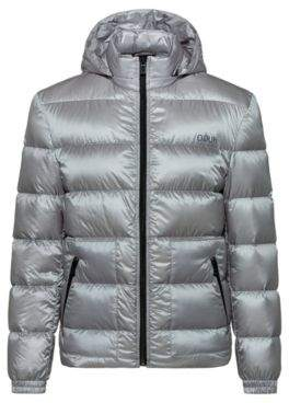 HUGO High-shine water-repellent down jacket with detachable hood
