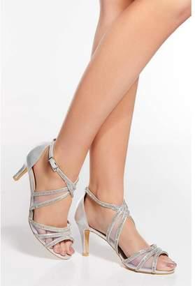 Quiz Silver Shimmer Diamante Low Heel Sandals