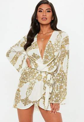 Missguided Cream Drape Front Tie Waist Mini Dress