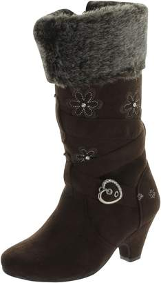 Lucky Top Girl's Low Heel Dress Boots With Embroidered Flowers Accent And Fur Trim