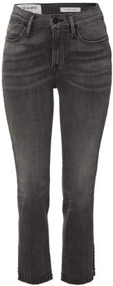 Frame Le High Straight Jeans with Raw Studded Trim