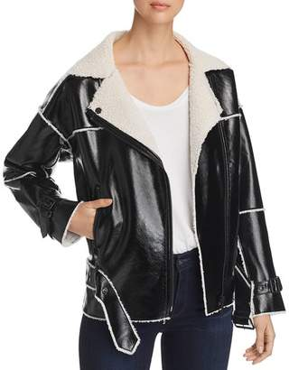 Kenneth Cole Faux-Leather Belted Moto Jacket
