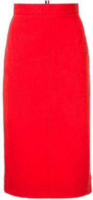 Thom Browne High Waist Cuban Pocket Skirt In Salt Shrink Cotton
