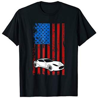 American Flag Sports USA Car Silhouette Racing T-Shirt