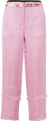 Emilio Pucci Cropped Fringed Houndstooth Woven Straight-leg Pants - Pink
