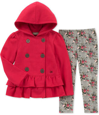 Calvin Klein Toddler Girls 2-Pc. Hooded Fleece Jacket & Leggings Set
