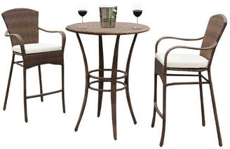Panama Jack Key Biscayne 3 Piece Bar Height Dining Set with Cushion