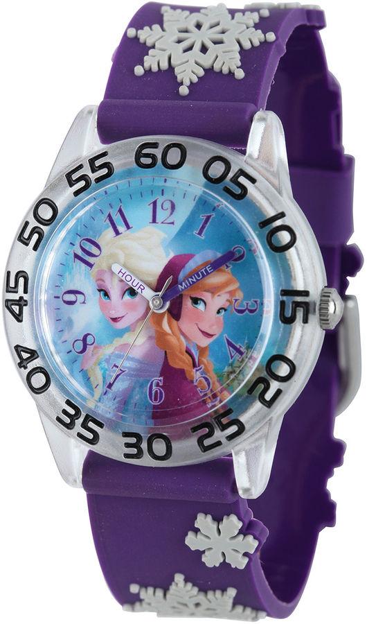 DISNEY Disney Frozen Anna and Elsa Kids Time Teacher Textured Snowflake Strap Watch