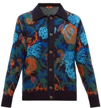 Missoni Floral Jacquard Wool Blend Cardigan - Mens - Burgundy