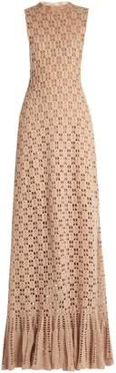 Roche RYAN Ruffled-hem cashmere crochet-knit maxi dress