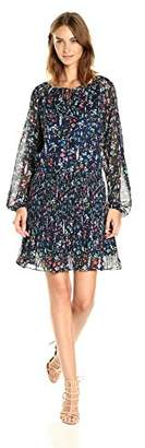 Tahari by Arthur S. Levine Women's Long Sleeve Blouson Printed Dress