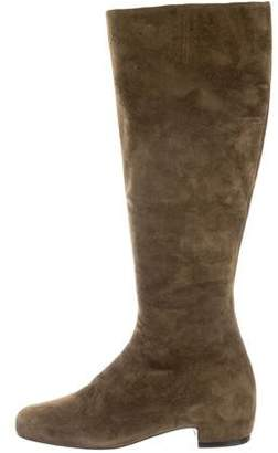 Christian Louboutin Rounded Square-Toe Suede Knee-High Boots