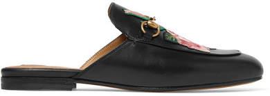 Gucci - Princetown Appliquéd Horsebit-detailed Leather Slippers - Black