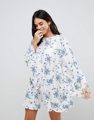 AX Paris Floral Long Sleeve Smock Dress