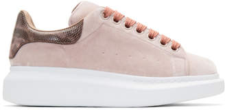 Alexander McQueen Pink Velvet Oversized Sneakers