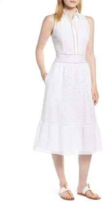 1901 Cotton Eyelet Sleeveless Shirtdress (Regular & Petite)