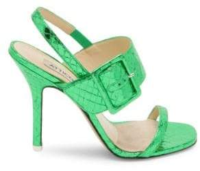 ATTICO Women's Mariah Metallic-Leather Slingback Sandals - Emerald - Size 35 (5)