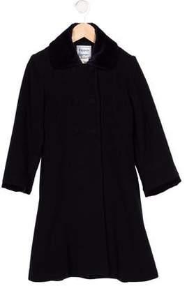 Florence Eiseman Girls' Velvet-Trimmed Wool Coat