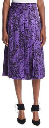 Escada Feather-Print Pleated Silk Satin Midi Skirt