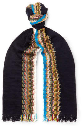 Missoni Fringed Zigzag Cotton Scarf - Men - Navy
