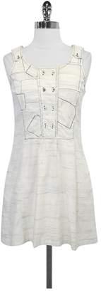 Charlotte Ronson Ivory & Blue Print Cotton Dress
