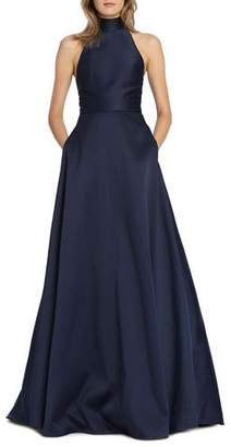 ML Monique Lhuillier High-Neck Keyhole-Back Sleeveless Ball Gown with Pockets