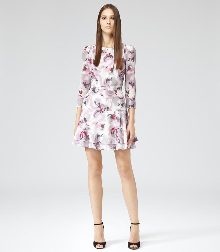 Reiss Giselle ROSE PRINT SILK DRESS