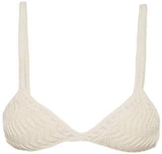 She Made Me Laharia Chevron Crochet Triangle Bikini Top - Womens - Cream