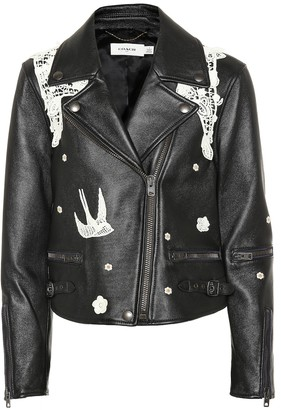 Coach Lace-embroidered leather jacket