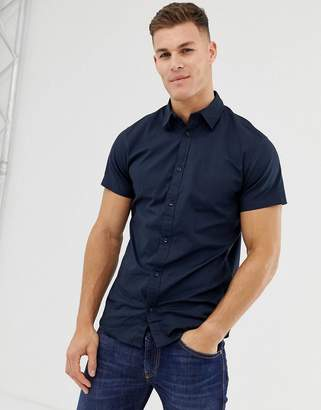 Jack and Jones stretch cotton short sleeve shirt in navy