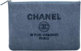 One Kings Lane Vintage Chanel Large Denim Clutch w/Sequins