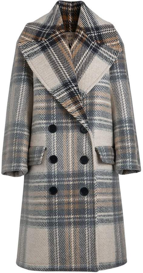Check Wool Tailored Coat