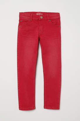 H&M Slim-fit Twill Pants - Red
