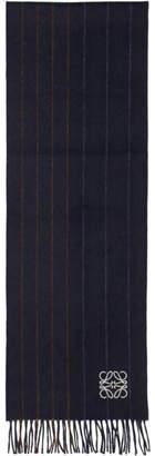 Loewe Navy Varsity Stripes Scarf