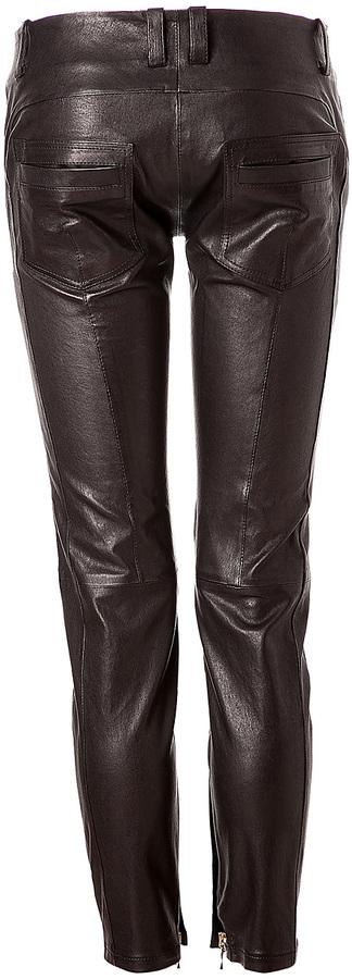 Balmain Black Leather Pants